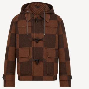 Men's Giant Damier Duffel/Logo Coat Brown sz 48